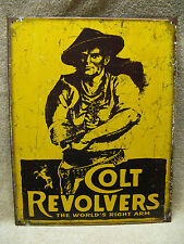 Colt Logo Revolvers Tin Metal Sign Decor Fire Arms World's Right Arm