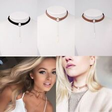 Velvet Stylish Round Pendant Choker Collar Necklace Chain Charm Jewel Brown+Gold