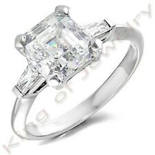Non Conflict 2.01 Ct. Asscher Cut 3-Stone Diamond Engagement Ring NEW H, VS1