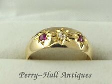 Vittoriano 18ct GOLD RUBY & DIAMOND Gypsy SET ANELLO TAGLIA K completamente marchiato 1897