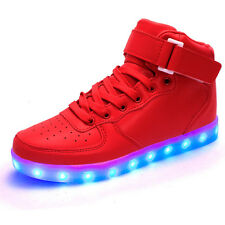 Red High Top Unisex LED Light Lace Up Luminous Sportswear Sneaker Shoes EU35-46