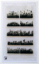 "Clear Stamps Sheet 4""x7"" Meadow and Grass Border FLONZ Vintage Rubber Stamps 018"