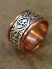 Beautiful Navajo Stamped Copper & Sterling Silver Ring sz. 12 1/2