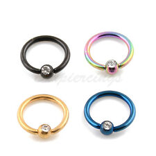 """4pc 16G 5/16"""" Titanium Anodized Steel Captive Bead Ring With Clear Gemed Ball"""