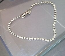 Antique Rhinestone Paste Silver Tone Tennis Bracelet  Women's Jewelry 6.75""