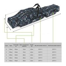 1.2MFolding Fishing Rod Carrier Three Canvas Fishing Pole Storage Bag Case S6E6