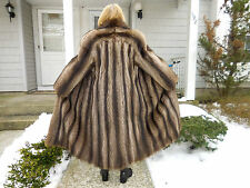 AWESOME CANADIAN RACCOON FULL LENGTH COAT WITH DESIGN ON THE BACK SIZE MED