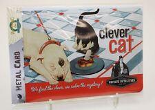 Blechpostkarte / Karte / Blechschild Katze Clever Cat Nostalgic Art
