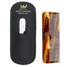 Kent Mini Pocket Small Fine Coarse Tooth Hair Comb Nail File Leather Case NU19