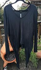 RAQUEL ALLEGRA black shredded long sleeve t-shirt 2/M