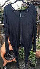 RAQUEL ALLEGRA black shredded long sleeve t-shirt 2/M