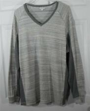 Calvin Klein Gray V Neck Cotton Shirt Sz XL Comfy Trendy Mens Dress up or Down