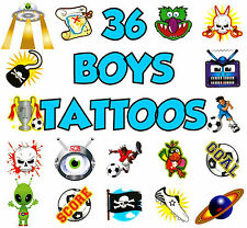 36 BOYS TEMPORARY TATTOOS CHILDRENS  LOOT PINATA TOY BIRTHDAY PARTY BAG FILLERS