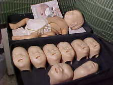 LAERDAL RESUSCI MANIKIN W/9 MASKS AIRWAY CPR EMT INFANT NURSING PATIENT TRAINING