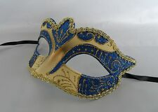 Mardi Gras Masquerade Mask - Blue & Gold - NEW - Express Post Option Available