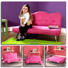 Pink Sofa Kids Girls Futon Sleeper Couch Lounge Chair Child Chaise Bed Play Room