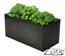 Zinc Kitchen Herb Planter Pewter Indoor Outdoor Plant Pot Black Steel 50cm 25cm