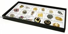 12 Black Trays 18 Space White Jewelry Pen Pocket Knife Display