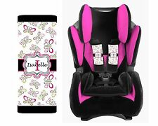 PERSONALIZED BABY TODDLER CAR SEAT STRAP COVERS STROLLER BUTTERFLIES PINK BLACK