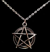 "Pentagram Necklace With 17""Chain Rock Emo Goth Grunge Star Mens Unisex Xmas *UK*"