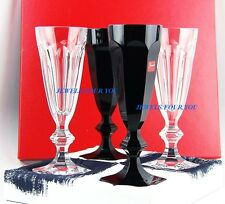BACCARAT HARCOURT DARKSIDE FLUTE SET OF FOUR BLACK & WHITE CRYSTAL NEW FRANCE