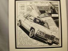 1981 Cadillac Coupe De Ville  Auto Pen Ink Hand Drawn  Poster Automotive Museum