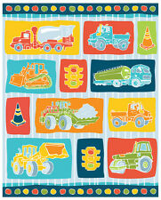"Big Trucks Construction Traffic Boy Toys blue 100% cotton 44"" wide fabric panel"