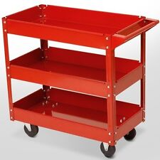STEEL WORKSHOP TROLLEY TOOLS BENCH 3 LEVEL DIY ORGANISER WITH WHEELS HEAVY DUTY