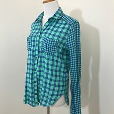 Hollister Plaid Flannel Button Down Shirt S Small Turquoise Blue Long Sleeve D06