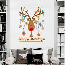 Christmas Deer Wall Sticker Full Color Decal Colored Home Shop Window Decor DD96