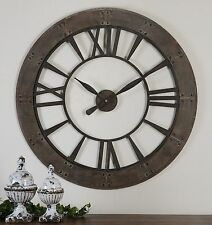 "LARGE 40"" DARK RUSTIC BRONZE ROUND WALL CLOCK BIG ROMAN NUMBERS RUST GRAY FRAME"