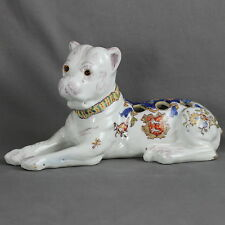 BEAUTIFUL FRENCH POTTERY DESVRES FOURMAINTRAUX FIGURE AND VASE DOG 1880-1900