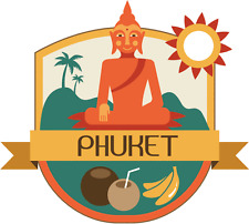 "Phuket Thailand World City Travel Label Badge Car Bumper Sticker Decal 5"" x 5"""