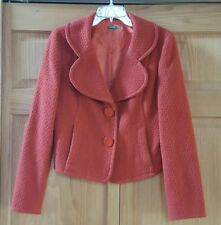 Benetton Women's Orange Wool Blend Blazer Jacket Size 46 EUR or Size 12-14 US
