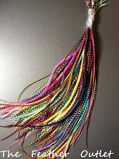 CUSTOM COLORS Lot of 25 Feather Hair Extensions Bulk Grizzly Real U Choose Color