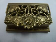 Vintage Brass Postage Stamp Roll Holder Sunflowers Desk Accessories Crowning