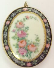 ANTIQUE FLORAL PORCELAIN AND ROLLED GOLD PENDANT BROOCH
