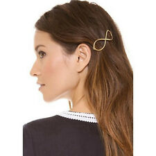 Fashion Women Ladies Positive Infinity Gold Barrette Hairpin Hair Clip Headband
