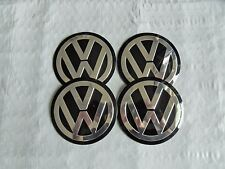 4 New 90mm Black/Chrome VW Wheel Center Hub Cap Decals Emblems Logos  Free Ship