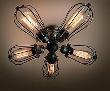 Vintage Industrial Big Cage Ceiling Lamp steampunk Kitchen Mount Ceiling Light