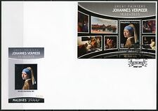 MALDIVES 2016 GREAT PAINTERS JOHANNES VERMEER  PAINTINGS S/S FIRST DAY COVER