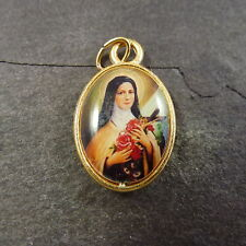St Therese of Lisieux christian rosary medal pendant Catholic gold colour metal