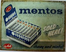 Vintage Replica Tin Metal Sign mentos mint chewy melle sold here drug store 2087