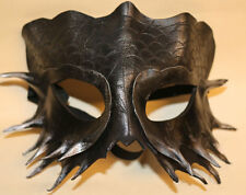 Obsidian Serpent Dragon Mask Handmade Leather Venetian Masquerade Black/silver