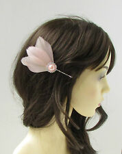 Blush Pink Silver Feather Fascinator Hair Clip Bobby Pin Bridal Vintage 1920s 77