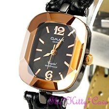 Omax Ladies Hematite Pl Seiko Movt Cut Glass Copper Mineral Leather Watch CN7796