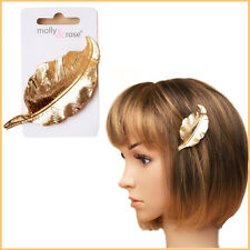 Shiny Gold Leaf Metal Barrette Hair Clip Jewelry Bridal Proms Party Bridesmaid
