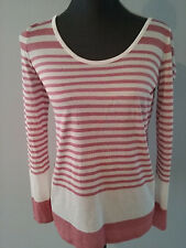 VINCE White Pink Variegated Long Sleeve Knit Jersey Scoop Neck Top Small fits M