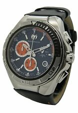 TechnoMarine 110001L Mens Stainless Steel Black Leather Chrono Date 45mm Watch