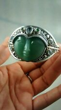 Stunning Sajen green stone moon face sterling  ornate multi stone cuff bracelet